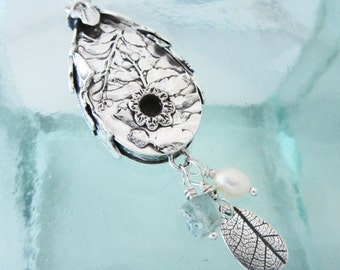 Handcrafted Silver Botanical Birdhouse Necklace with Aquamarine and Pearl