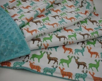 Meadow Deer in Multi Double Sided Minky Baby Blanket You Choose Size MADE TO ORDER
