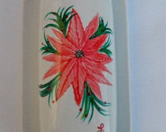 Poinsettia Butter Dish Hand Painted Poinsettia Butter Dish With Lid Covered Butter Dish