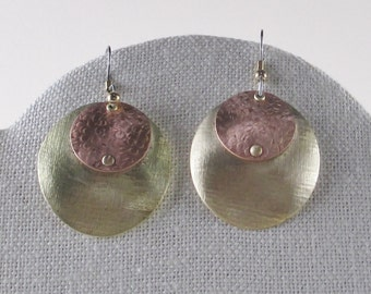 Domed Brass and Copper Circle Earrings
