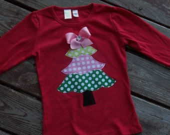 """Girls Christmas frilly  tree """"WHImSICAL TREeS""""  red tee shirt available in size 6-12-18-24 mth. 2T, 3/ 4T, 5/ 6T, 7/8"""