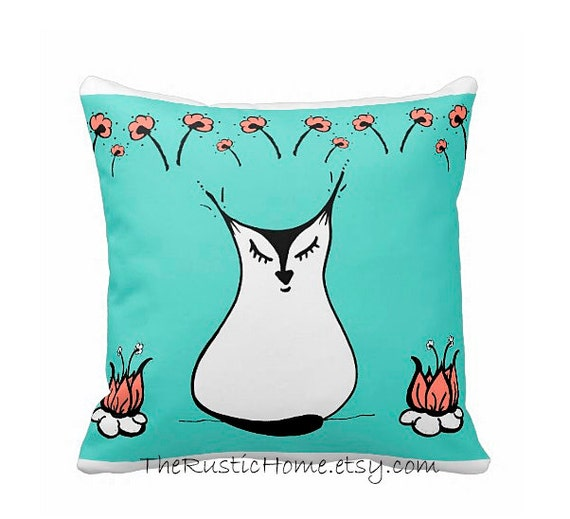 Lotus kitty cat square toss pillow 16x16 mint coral black white cat lovers floral lotus flowers
