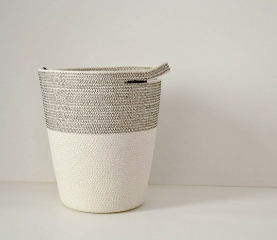 Rope laundry basket with rope handles // Floor basket // Storage basket or bag for toys // Coiled rope bin // Nautical storage // Rope bin