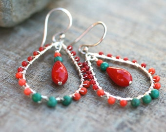 Turquoise and Red and Orange Coral Gemstone Sterling Silver Wire Wrapped Tear Drop Hoop Earrings