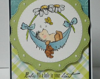 Baby Boy Hedgehog Card - blank