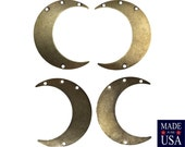 4 Hole Brass Ox Crescent Left and Right Pendant Hoops (4) mtl110D