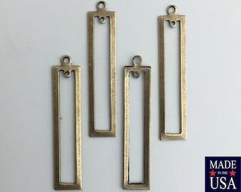 2 Hole Brass Ox Long Rectangle Pendant Drop 42x9mm (4) mtl054K