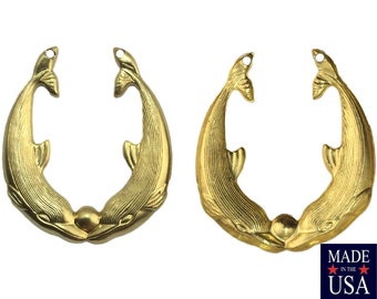 2 Hole Raw Brass Dolphin Hoop Findings 31x27mm (2) mtl008B