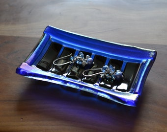 Trinket Ring Jewelry Soap Dish Fused Glass Blue Iridescent