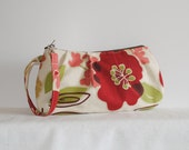 Pleated Wristlet Zipper Pouch // Clutch - Rainforest Green Floral