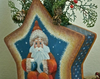 A 'Star Santa' ~ Designed and painted by Artist ~ wooden decorative painting of Santa