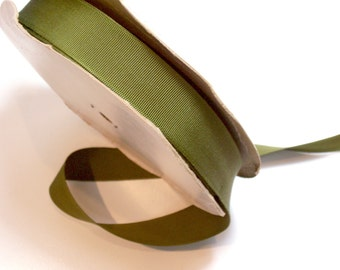 Green Ribbon, Vintage Olive Green Grosgrain Ribbon 7/8 inch wide x 10 yards, Rayon Cotton Blend