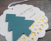Christmas Tree Merry and Bright Big Scalloped Christmas Tags. Gift Wrap. Holiday. Kraft. Natural. Simple Christmas. 2 Layers.