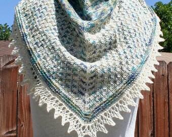 Hand Knit Lace Shawl - Sparkle Elowen Triangle