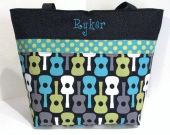 Guitar Diaper Bag Tote . Groovy Guitar Lagoon . Weekender / XL size monogrammed FREE . boy diaper bag guitar . personalized diaper bag
