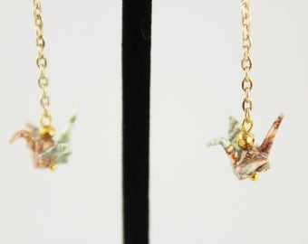 Up-cycled Jewelry,Vintage Map Jewelry, Origami Crane Earrings,repurposed jewelry,origami earrings,origami jewelry,recycled jewelry,upcycled