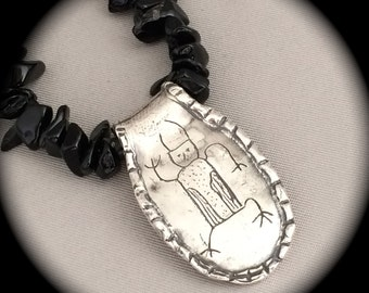 Petroglyph Necklace -  Bison Medicine Man Petroglyph - Recycled Silver - Unisex - Personalized