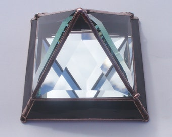 Glass Pyramid Box - 5 x 5 Inches - Hinged, Stained Glass and Cut Glass Bevels, Jewelry Box, Pyramid Box,  Black or your Choice of Colors