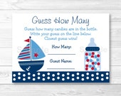 Nautical Sailboat Guess How Many Baby Shower Game INSTANT DOWNLOAD