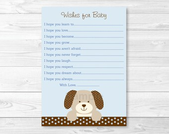 Puppy Wishes for Baby Advice Cards INSTANT DOWNLOAD