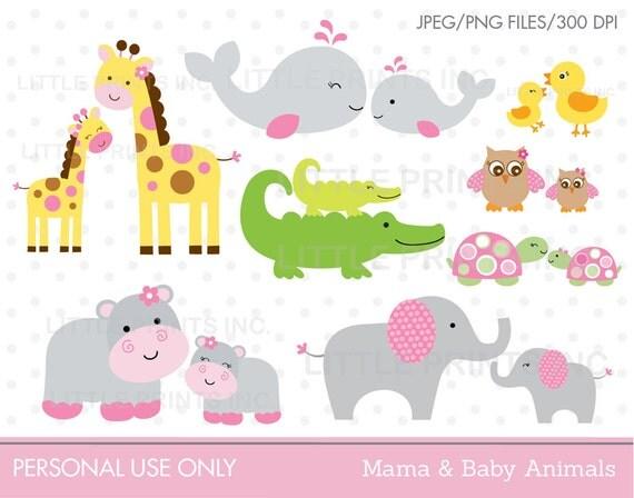 Mama & Baby Animal Clipart Elephant Whale Giraffe Hippo Owl