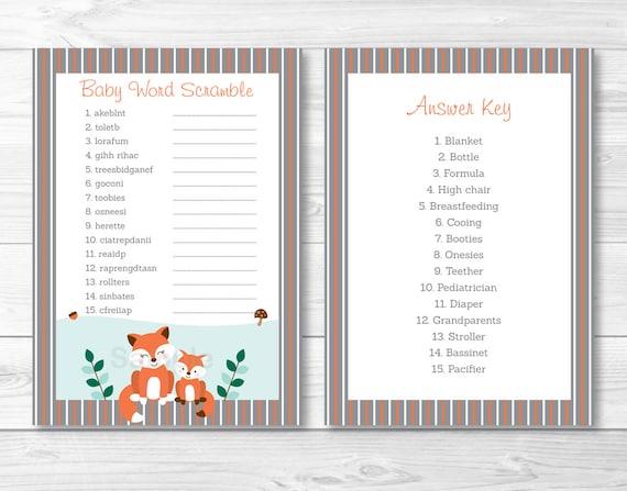 Woodland Fox Baby Shower Word Scramble Fox Baby Shower Woodland