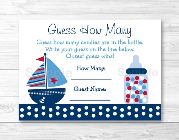 """Nautical Crab Baby Shower /""""Guess How Many?/"""" Game Cards"""