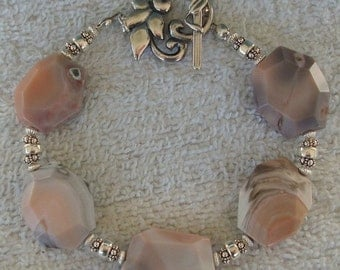 Pink Agate Stone Sterling Silver  Bracelet