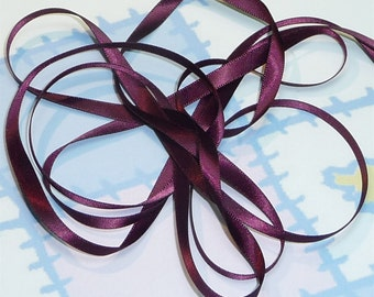 RAISIN DouBLe FaCeD SaTiN RiBBoN, Polyester 1/4 inch wide, 5 Yards