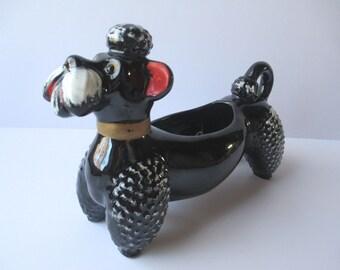 Vintage Large Ceramic Black Poodle Planter - Kitsch