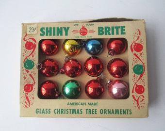 Vintage Shiny Brite Miniature Glass Ornaments Set of Twelve
