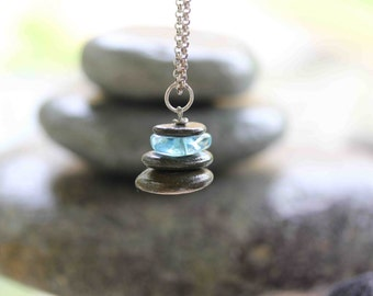 Cairn Necklace, New England Rock Cairn, Cape Cod Glass Cairn, Sterling Silver Chain