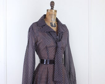 80s does 50s, vintage brown semi-sheer swiss dots dress with flirty ascot & full circle skirt - size large, xl