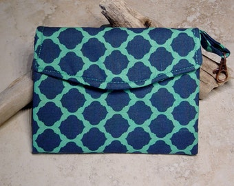 Fabric Wallet, Small Purse, Navy & Turquoise Quatrefoil Geometric Fabric Wallet, Turquoise Wallet, Navy Blue Wallet, Carry Essentials Purse