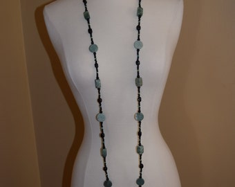 Green Stone and Black Glass Beaded Necklace