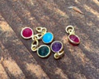 Bezel Charms Tiny gold plate Birthstones