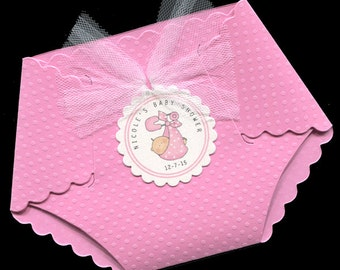 20 Personalized Baby Girl Baby Shower Invitations - Baby Girl Shower Invitations - Diaper Invitations - Pink - Baby Girl Bundle