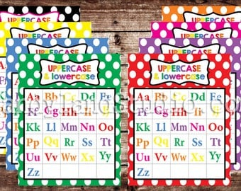 Printable Uppercase & Lowercase Alphabet Charts - All 8 Colors - 16 DIGITAL FILES