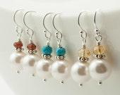 Pearl Bridesmaid Earrings Set of 3 pairs, Pearl Drop Earrings, Pearl Birthstone Earrings, Birthstone Jewelry, Sterling Bridesmaid Jewelry