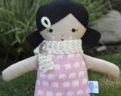 Lil Sister Sprinkles Black Hair Handmade Rag Doll (white elephant print) With Scarflette