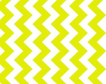 Riley Blake Medium Chevron Neon Green Fabric, 1 yard