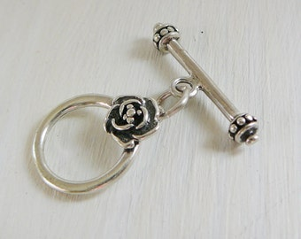 Sterling Silver Clasp, Flower Toggle, Round Jewelry Closure Oxidized beading supplies necklace bracelet closure