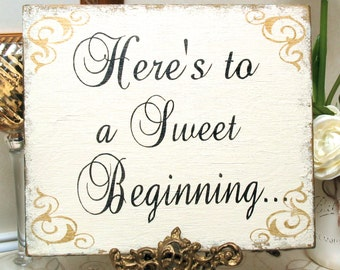 SWEET BEGINNING sign Shabby wedding bridal, candy bar sign, cookie bar sign, candy buffet sign, sweet treat sign