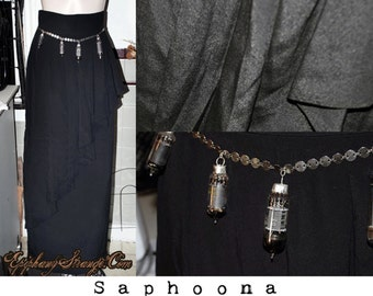OOAK 90s  long black maxi skirt Gothic dark mori Steampunk Apocalypse minimalist avant garde Black high waist draped cathode tube belt