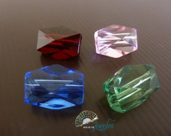 Faceted Rectangle Shaped Acrylic Beads, Transparent, Choose Your Color - 8x