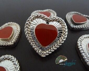 Antique Silver Red Enamel Love Pendant, 33mm - 9x