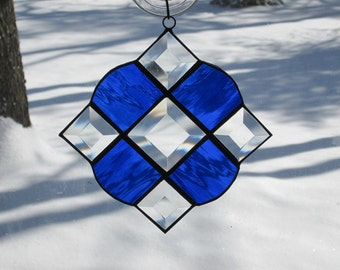 Stained Glass Suncatcher, Victorian with Clear Bevels & Cobalt Blue Glass