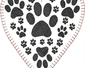 Paw Heart Single Digitized Machine Embroidery Design