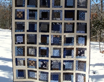 "sky, waves and sand Hawaiian nap size quilt - 68"" x 57"" - framed square design,...echo quilt #47"