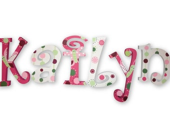 M2M  Raspberry Swirl Decor Nursery Bedding Custom Hand Painted Wood Wooden Nursery Hanging Wall Letters Baby Name Sign
